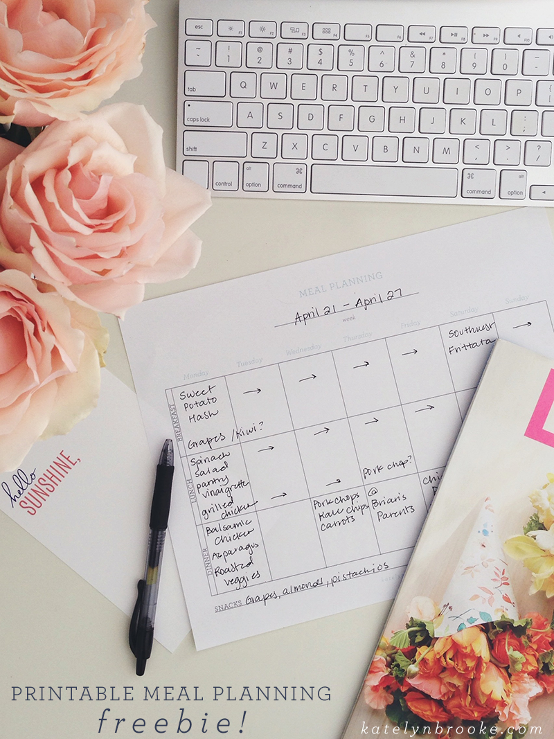 printable meal planning freebie || katelynbrooke.com