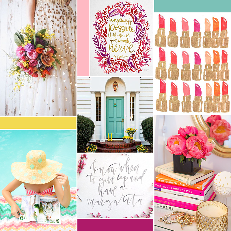 Bright and girly moodboard (see post for image sources) || katelynbrooke.com