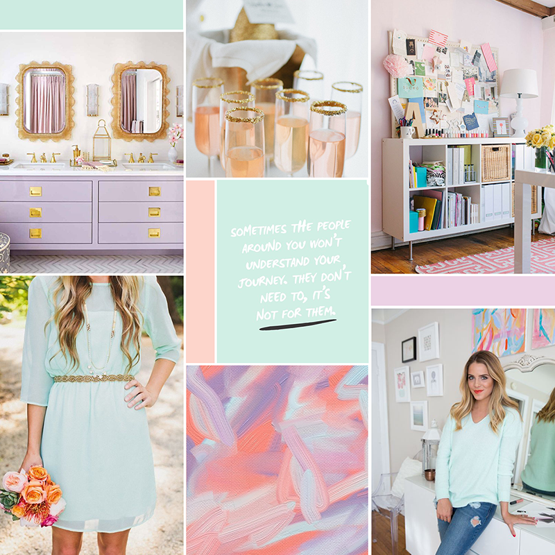 Modern pastel moodboard (see post for image sources) || katelynbrooke.com