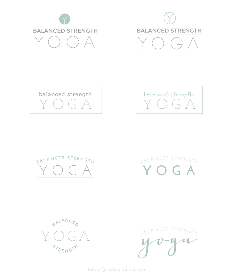 Alternate logo concepts for Balanced Strength Yoga, designed by Katelyn Brooke || katelynbrooke.com