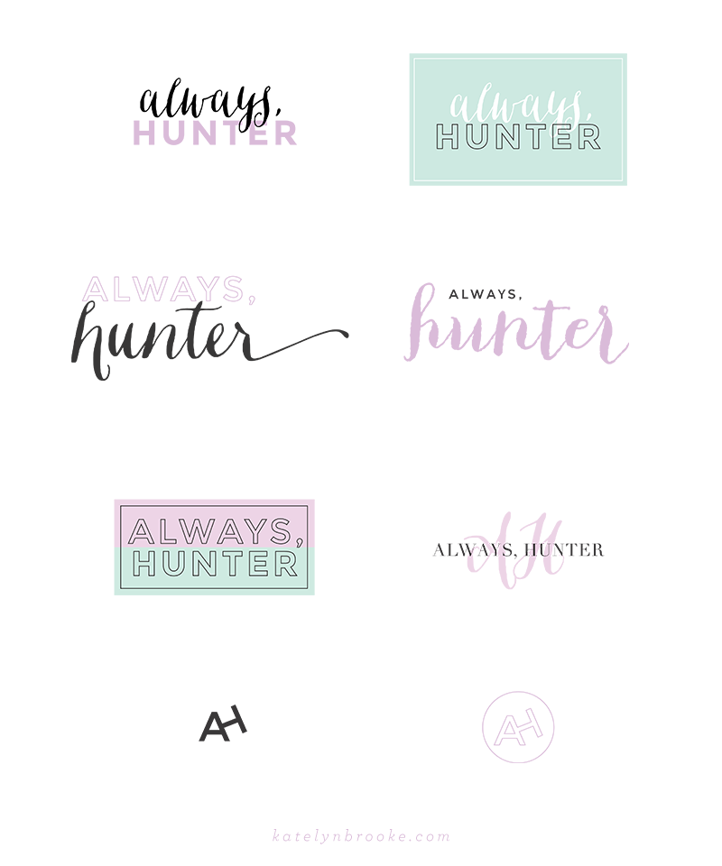 Alternate logo concepts for Always, Hunter, designed by Katelyn Brooke || katelynbrooke.com