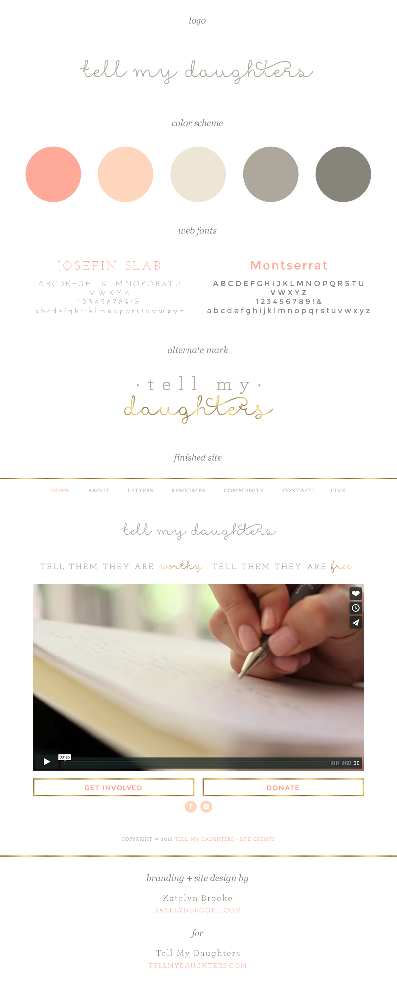 Branding and website for Tell My Daughters by Katelyn Brooke || katelynbrooke.com