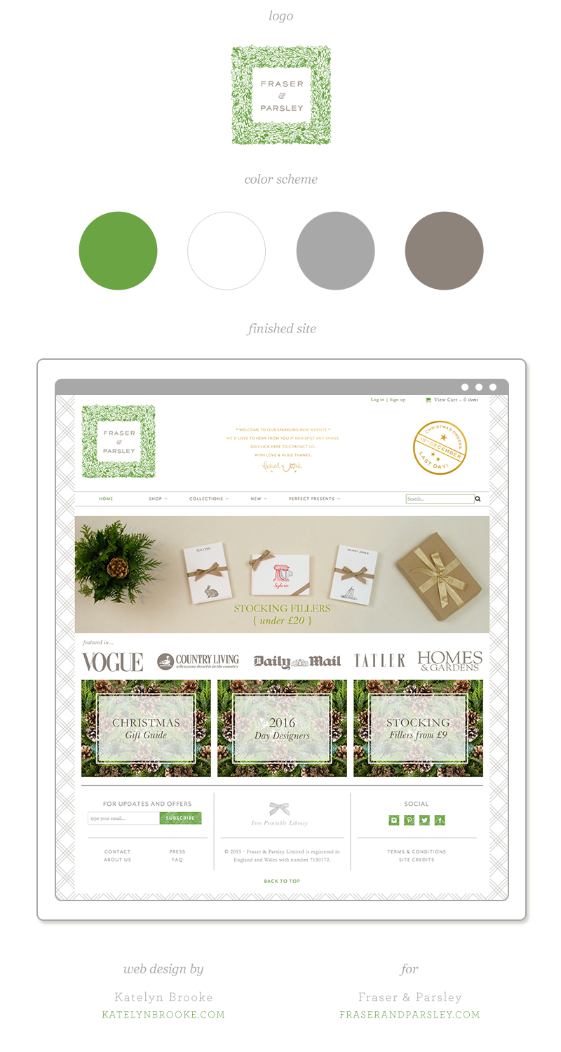 Web design for Fraser & Parsley by Katelyn Brooke || katelynbrooke.com
